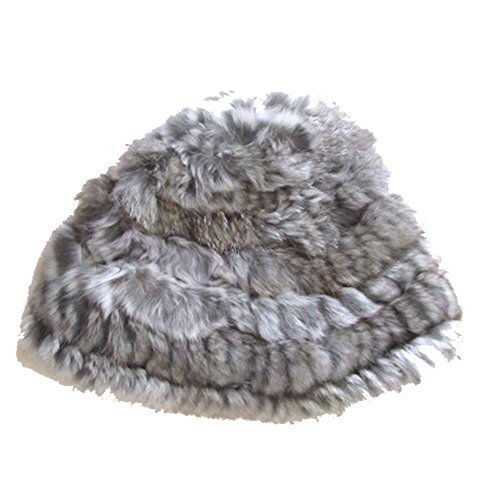 Women Fluffy Russian Cossack Rabbit Fur Knit Hat Ski Cap Winter Warm