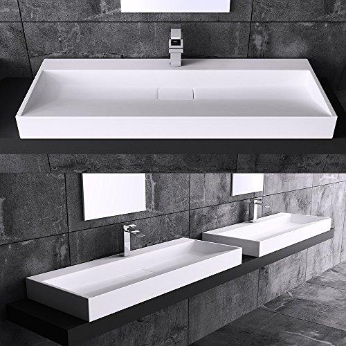 Aufsatzwaschbecken Hängewaschbecken Colossum19-900, BTH: 90x46x13cm, in weiß, Design Waschbecken aus Mineralguss, ein Armaturenloch