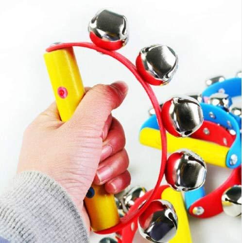XuBa Schüttelspielzeug aus Holz, Handglocke für Babyinstrumente, kreisförmig Zufällig