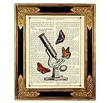 Mikroskop Schmetterlinge Poster Kunstdruck auf antiker Buchseite Geschenk Schüler Studenten Bild ungerahmt