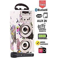 DYNASONIC - Altavoz Bluetooth Portátil con Karaoke   Radio FM y Lector USB SD (Modelo 8)