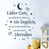 DESIGNSCAPE Wandtattoo Abendgebet mit Sternen: Lieber Gott, nun schlaf ich ein, schicke mir ein Engelein... Babyzimmer, Kinderzimmer 99 x 120 cm (Breite x Höhe) gold DW809006-L-F26