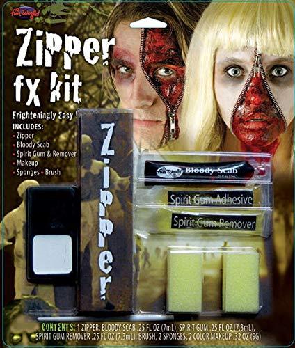 Blutige Gesicht Reißverschluss Kostüm - Unbekannt Blutige Reißverschluss Wunde für Halloween & Zombie Walk