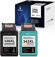 KNOWINK 338xl Cartucho de Tinta Compatible para HP 338 343 XL para HP Photosmart C3180 2710 7850 8150 PSC 1610