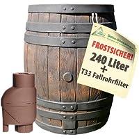 Regenfass EICHENFASS 240 Liter REGENTONNE Regenwasserbehälter WASSERFASS FROSTSICHER Gartenfass PE-Kunststoff-REGEN-WASSER-FASS MIT DECKEL, REGENSAMMLER T33 REGENFILTER zur AUTOMATIK-BEFÜLLUNG