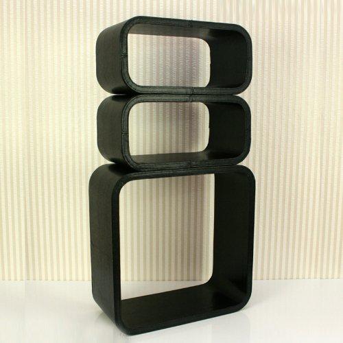 Étagères cube murale de 3 piéces en cuir synthétique noir -PEGANE-
