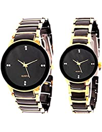 Faas Analogue Black Dial & Black Gold Chain Watch For Men & Women (Couple Watch)