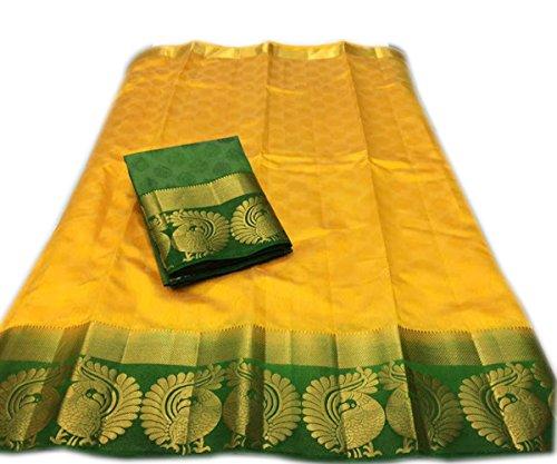 Nirja Creation Cotton Silk Saree (NC-OD-MOR-03_Yellow_Free Size)