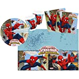 Procos 10108558B - Kinderpartyset - Ultimate Spiderman - Web Warriors, Größe S, 37-teilig