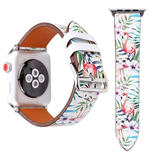 (Für Apple Watch Armband 38mm 42mm Leder Flamingo-Thema Armbänder für Herren Damen iwatch Armband Series 3 Series 2 Series 1 (38mm, Einzelner Flamingo))