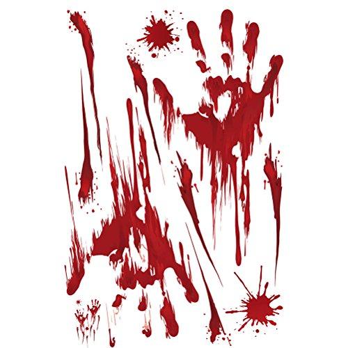 BESTOYARD Blutige Splatter Wandaufkleber Decals Halloween Fenster Dekoration Blutige Handabdruck