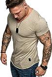 Amaci&Sons Oversize Herren Vintage T-Shirt V-Neck Basic V-Ausschnitt Shirt 6006 Beige M