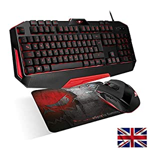 SPIRIT OF GAMER – 3in1 PRO-MK3 Gaming und Office Pack UK QWERTY – Tastatur 26 Beleuchtete Anti-Gosting / Tasten 4 Makros / 7 Programmierbare Tasten 3200 DP / Mousepad – PS4 / XBOX ONE / PC