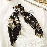 Moda floreale stampato Scrunchie seta fascia per capelli elastica per donna sciarpa capelli fiocchi corde gomma ragazze cravatte accessori per capelli accessori per capelli 18