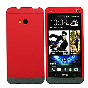 Heartly Double Dip Hard Shell Premium Back Case Cover For HTC One M7 Single Sim - Red Red Grey