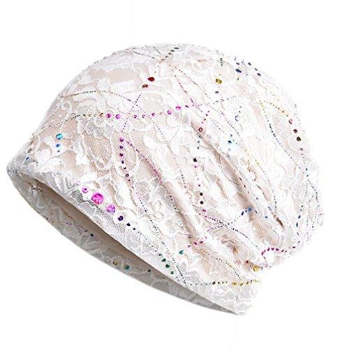 Frauen Chemo Hut Stripe Lace Beanie Hut Baumwolle Soft Turban Headwear Head Wraps White Stripe Beanie