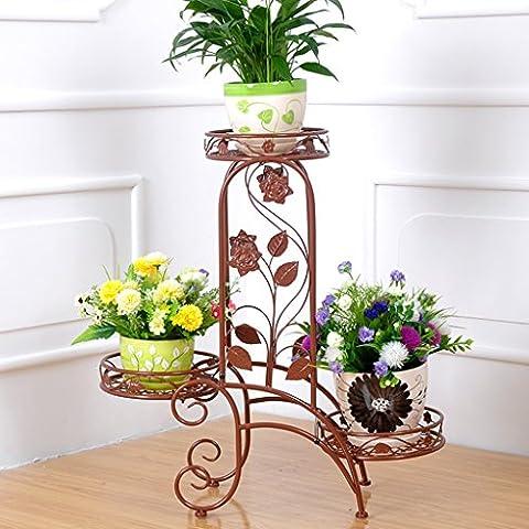 Im Freien Topfpflanzen Iron Flower Pot Rack, 3 abgestufte Pflanze Display Ständer Bonsai Halter Haus Garten Patio Dekor Regal hält schwarz / weiß ( Farbe : E )