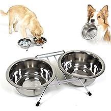 Bakaji cuenco doble para perros Kit 2 cuencos 14 cm acero con soporte antideslizante doble cuenco