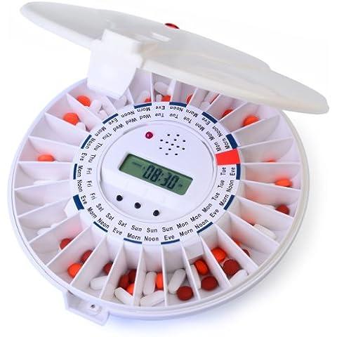 Dispensador de pastillas automático de Ivation, Recordatorio de medicación electrónico con nueva cerradura, una alarma más sonora y luz parpadeante - Parte superior de color liso