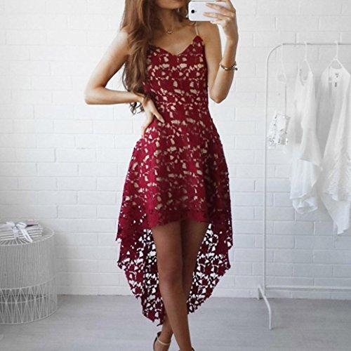 Bekleidung Longra Damen Blütenspitze ärmelloses Sommer Kleid mit V-Ausschnitt Strandkleider Cocktail formale Swing unregelmäßig weiße Spitze Kleider Red