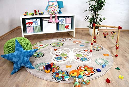 Savona Kinder Teppich Kids Beige Schmetterlinge Bunt Rund in 3 Größen