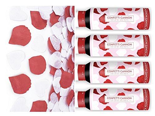 t Party Popper I 4 Teile Konfetti Shooter Rosen Rot Herzen Weiß 30cm I Silvester Valentinstag Liebe ()