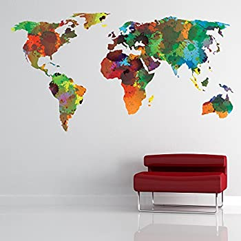 World Map Wall Sticker Water Colour Wall Decal Art Living Room Home Decor  Available In 8 Sizes XX Large Digital Part 72