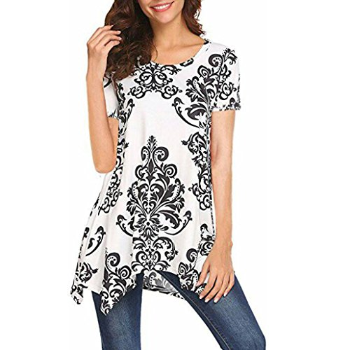 Hevoiok Sommer Kurzarm Shirt Damen Fashion Irregulär Rundhals Top T-Shirt Sexy Fraun Oberteile Bluse (Weiß, L)