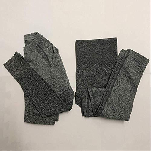Top-scrunch (FECPDSeamless 2 Piece Set Yoga Set Women Sport Suit Gym Workout Clothes Long Sleeve Fitness Crop Top and Scrunch Butt Leggings M Dark Gray)