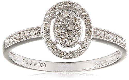 Naava Damen-Ring 375 Weißgold 9 K Diamant Rundschliff PR11408W-K