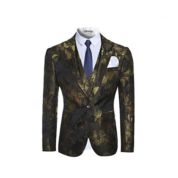 Trajes de hombre de 3 piezas Slim Fit Traje con muescas solapa estampado floral un botón moderno chamarra chaleco…