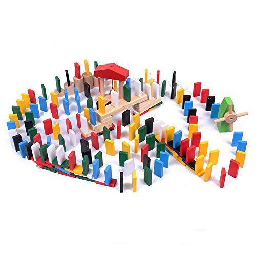 ADATEN Dominosteine Holz Bausteine 480-teiliges Set Regenbogen Bulk Rennsport Fliesenspiele Bauen Stapeln Kettenreaktion 3D Geometrie Basteln mit 11 Zusatzblöcken und Aufbewahrungstasche
