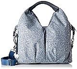 LÄSSIG Baby Wickeltasche nachhaltig inkl. Wickelzubehör/Green Label Neckline Bag, Grau/ schwarz mit Blumenprint (Allover Fleur grey/blue)