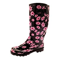 Lora Dora Womens Knee Length Wellington Rain Snow Boots Ladies Wellies Wellys Polka Dot Bird Leopard Horse Flower Prints Shoes UK 4-8