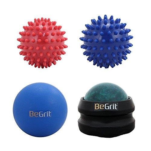 BeGrit Massage Ball Roller Set - 1 Lacrosse, 1 Harz Marmor Rolle, 1 Hart und 1 weiche Spiky-Ball Combo Pack - für Release und Deep Tissue Triggerpunkt und Physiotherapie - Therapeutische Fuß MuskelMassager, Handtrainer Greifer oder Ball Set