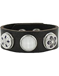 Quiges Bijoux Button Eligo Bijoux 18mm snap Bracelet en Cuir noir Set #262