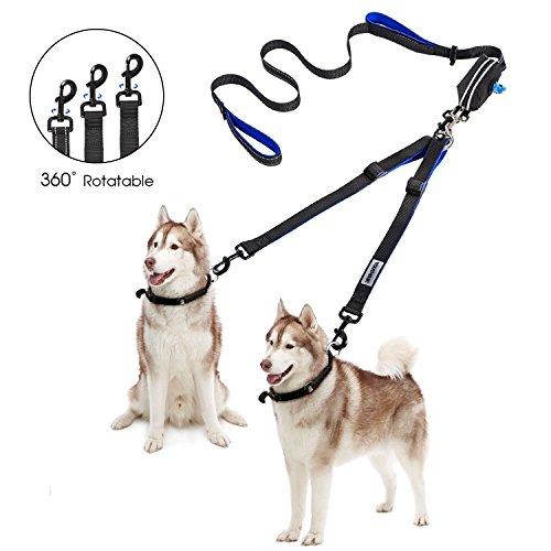 YOUTHINK Doppelleine Hundeleine für 2 Hunde Keine Verwicklung Reflektierend Hundeleine Doppelte Gepolsterte Griffe Verstellbar Splitterleinen, mit kotbeutelspender für Hunde bis zu 180 lbs -