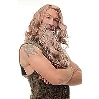 WIG ME UP ® - 90760-A-B Peluca y barba Carnaval señores trenzadas Vikingo Normando enana bárbaro marrón gris mixto