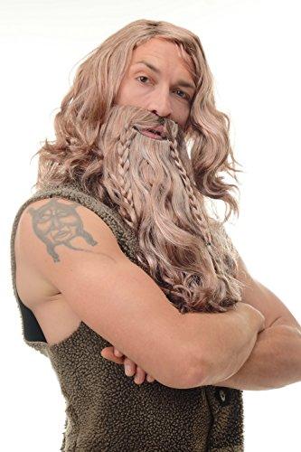 WIG ME UP - 90760-A-B-ZA33B-ZA63-ZA130 Perücke & Bart geflochten Herren Karneval Fasching Wikinger Viking Normanne Barbar Zwerg Braun Grau Rostrot (Wikinger Kostüme Bart)