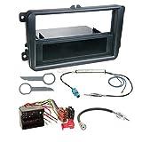Skoda Yeti 09-13 1-DIN Autoradio Einbauset in original Plug&Play Qualität mit Antennenadapter, Radioanschlusskabel, Zubehör und Radioblende/Einbaurahmen schwarz