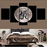 zlxzlx (Nessuna Cornice) Stampato OpereD'ArteModern Decor 5 Pieces Moon And Cartoon Dog Abstract Paintings Art Poster Immagini Parete Modulare in Tela
