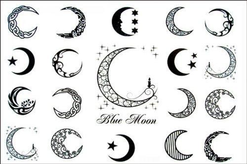 SPESTYLE wasserdicht ungiftig temporäre Tätowierung stickerslatest neue Design neue Version Blue Moon von Männern und Frauen wasserdichte temporäre Tattoos (Blue Moon Glas)