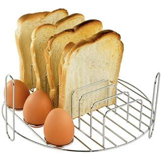 Andrew James Frühstücks-Grillrost Rund für 10-12 Liter Halogenöfen aus Edelstahl | Zum Kochen von Eiern und Toast sowie auch Würste Speck und Rösti-Ecken