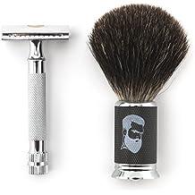 Rusty Bob - Afeitar las maquinillas de afeitar-Planer tradicional clásico-cromo brocha de afeitar el pelo de tejón de afeitar +5x hoja de a
