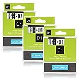 Labelwell 3 Rollen 12mm Kompatibel Dymo D1 45010 S0720500 Schwarz auf Transparent Schriftband Mehrfarben-Standardklebstoff Laminierte Etikettenband für Dymo LabelManager 160 280 260P 360D 500TS LabelWriter 450 DUO Rhino LabelPoint 150 250 (1/2