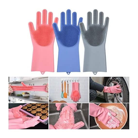 MWMALLINDIA Magic Silicone Heat Resistant Gloves with Wash Reusable Brush Kitchen Tool for Cleaning, Dish and Car Washing, Pet Hair Care (Standard, Multicolour) - Pack of 2 Gloves