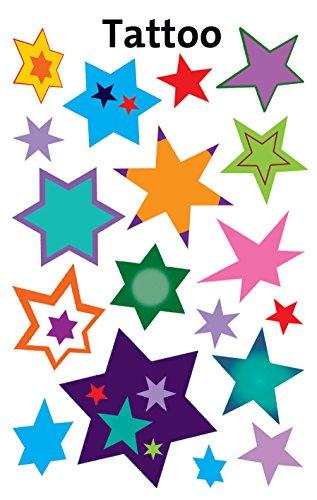 Avery Zweckform 56734 Kinder Tattoos bunte Sterne (temporäre Transferfolie, dermatologisch getestet) 18 Aufkleber (Temporäre Bunte Tattoos)