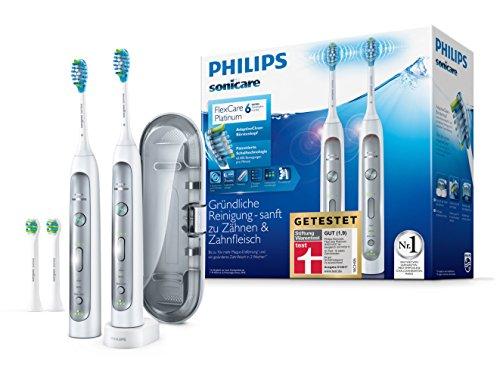 Philips Sonicare FlexCare Platinum Elektrische Zahnbürste mit Schalltechnologie HX9114/37, weiß, Doppelpack
