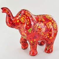 POMME-PIDOU Zara The Elephant - Hucha con corazones y mariposas, color rojo