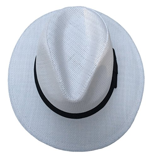 Smile YKK Chapeau Paille de Soleil de Beach Plage d'été Homme Blanc
